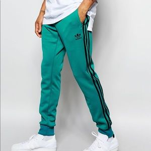 Adidas Teal and Black Trackpants